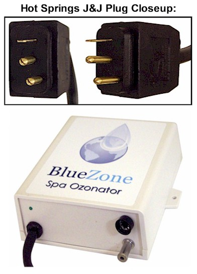 BlueZone Ozonator with Hot Springs J&J Plug